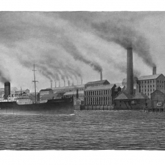 47 SS Gretaston - Newcastle-on-Tyne - Ink-wash