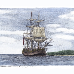 50 HMS Endeavour - Pen & - ink-wash